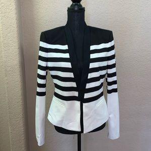 BCBG MaxAzria Black and White Stripe Blazer Size L